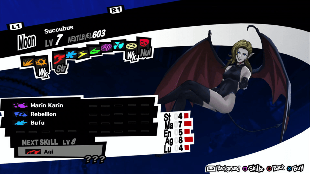 Persona 5 / Persona 5 Royal - Succubus Persona Stat and Skills