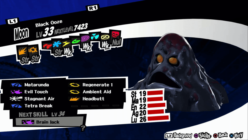 Persona 5 / Persona 5 Royal - Black Ooze Persona Stat and Skills