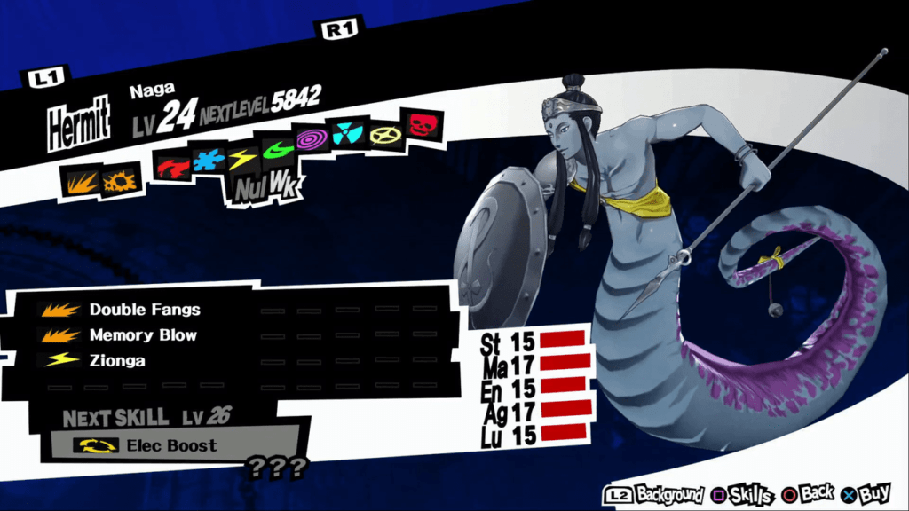 Persona 5 / Persona 5 Royal - Naga Persona Stat and Skills