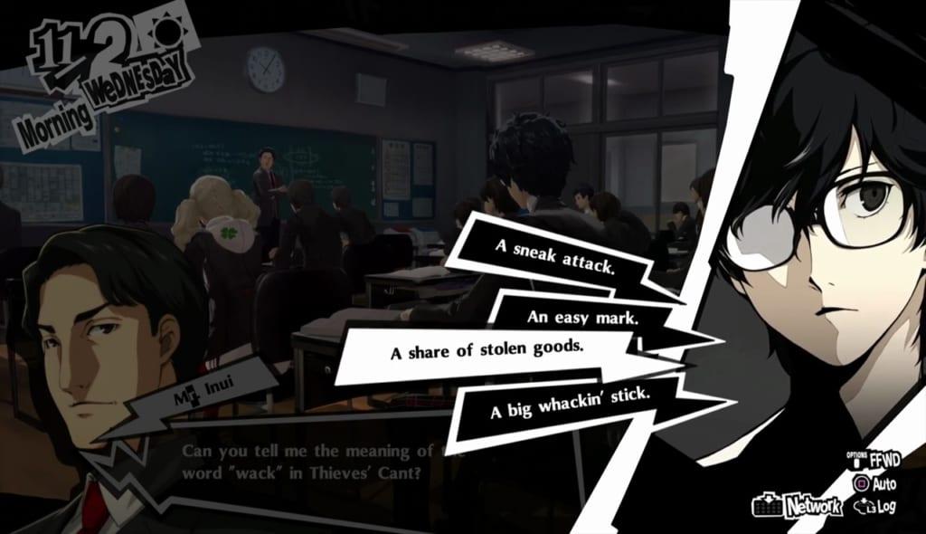 Persona 5 Royal - November Classroom Answers