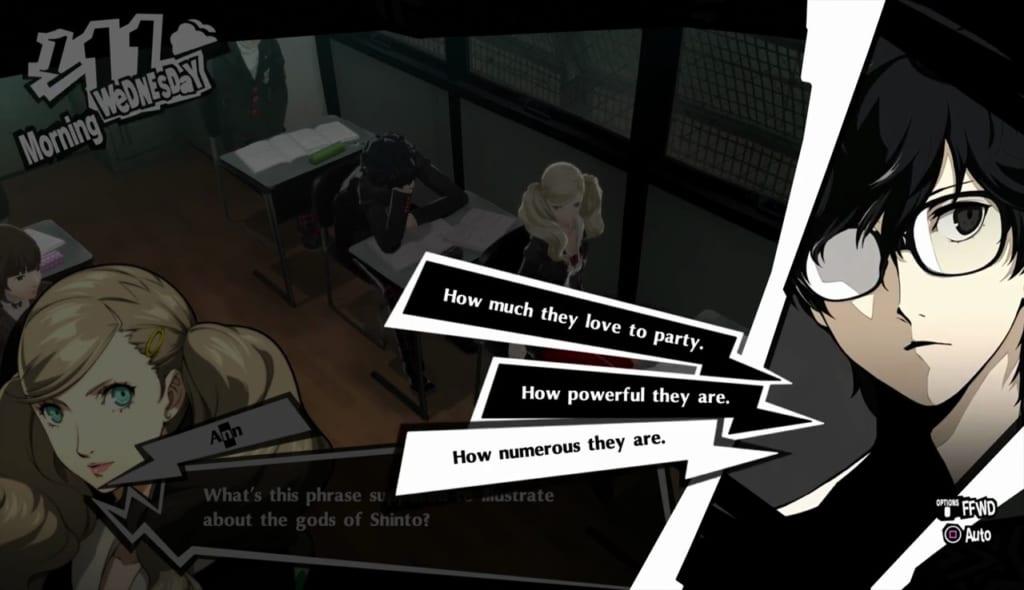 Persona 5 Royal - January Classroom Answers