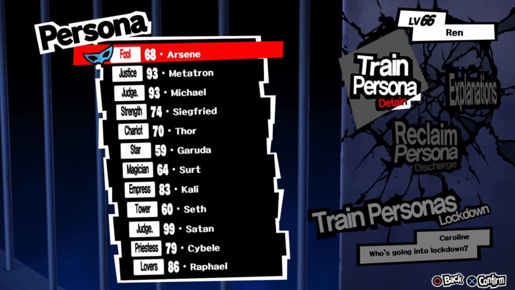Persona 5 - Persona Lockdown Selecting from Persona Stock