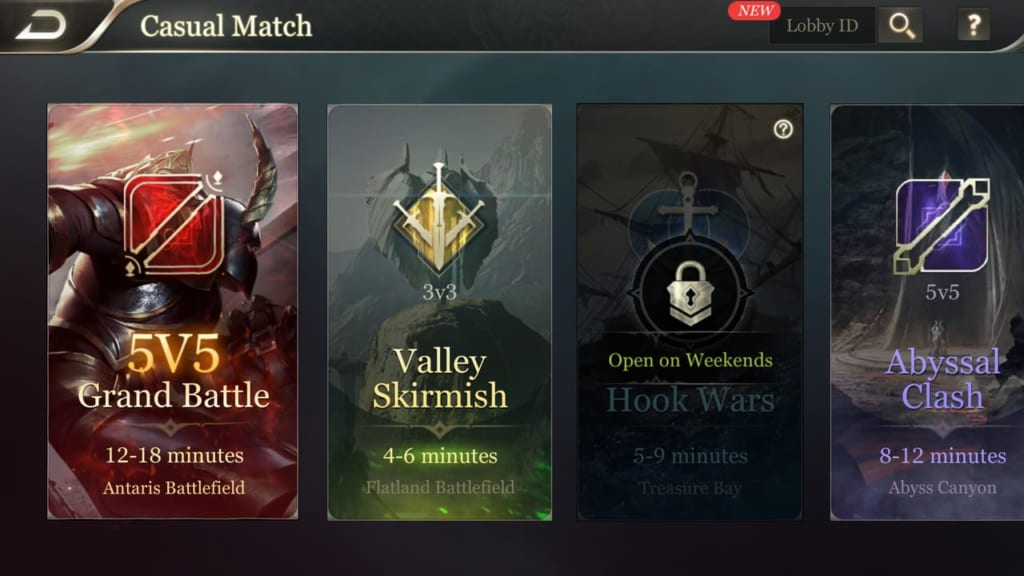 Arena of Valor Match Types