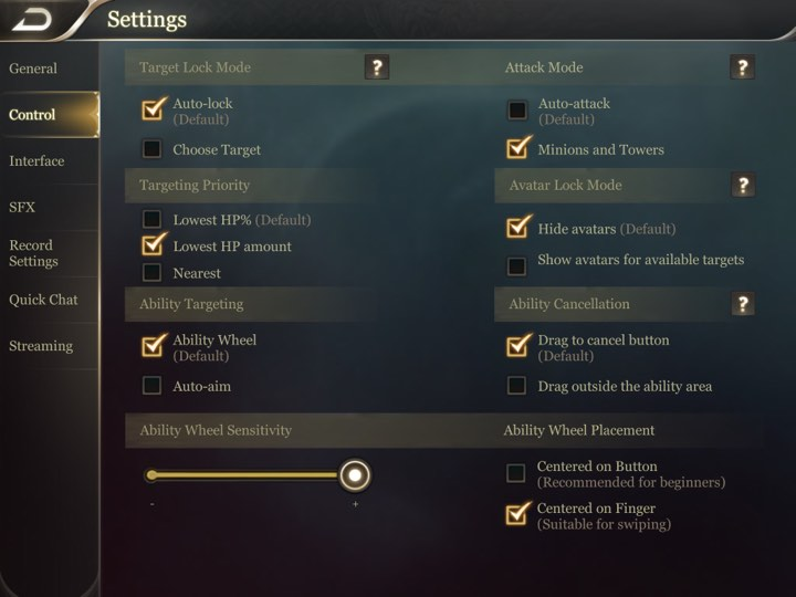 Arena of Valor Recommended Settings