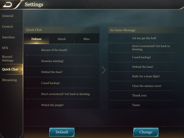 Arena of Valor Recommended Settings 2