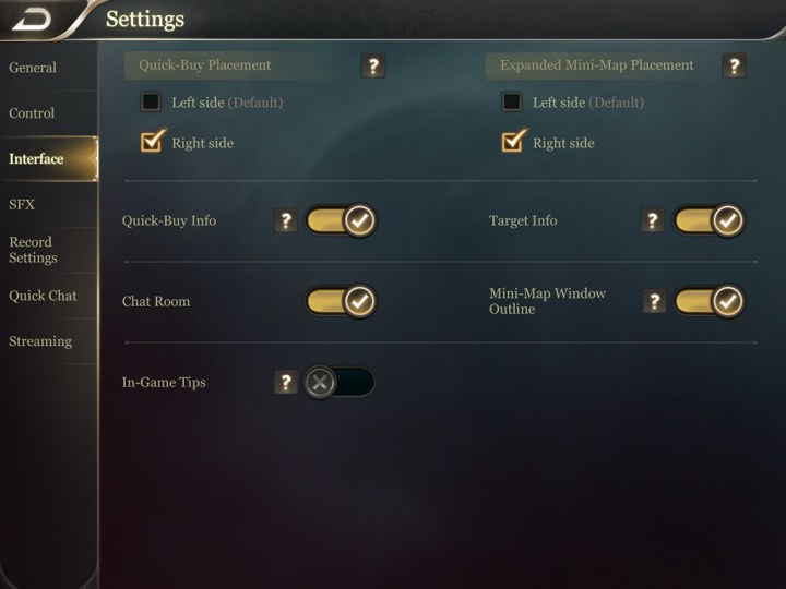 Arena of Valor Recommended Settings 1