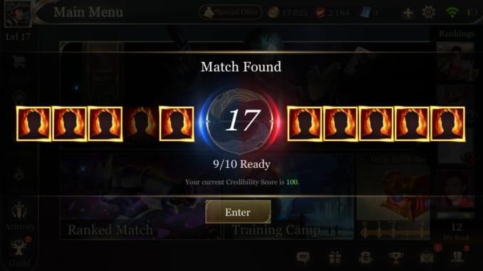 Arena of Valor Pre-Match Screen - Match Found