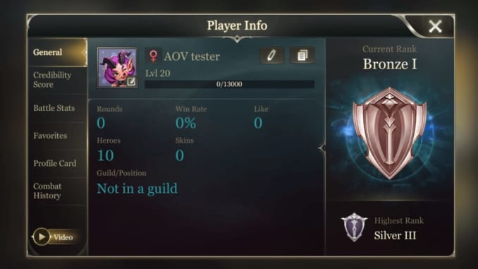 Arena of Valor - SEA Server Version 11 Player Info Update
