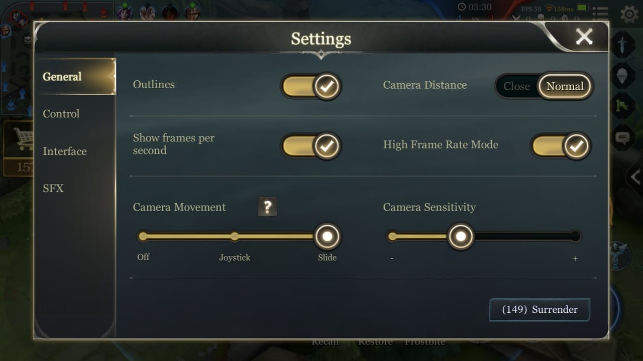 Arena of Valor General Settings