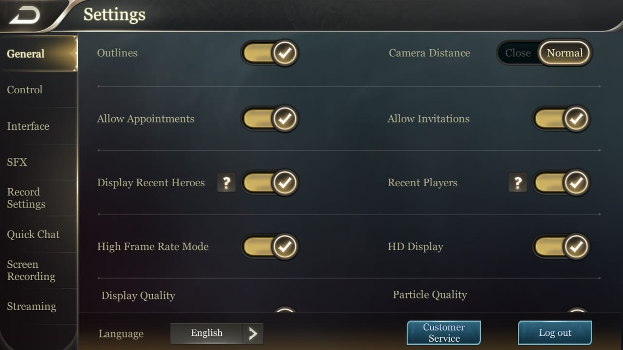 Arena of Valor General Settings 2