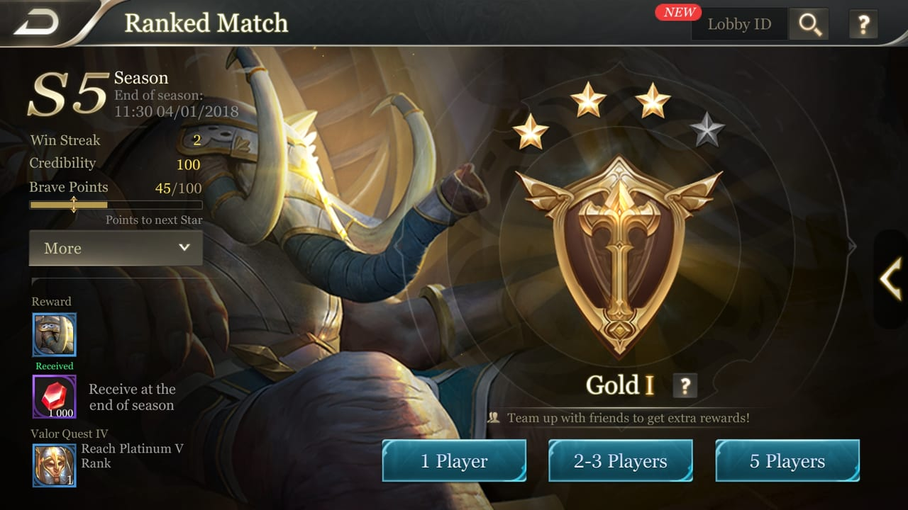 arena of valor ranked page