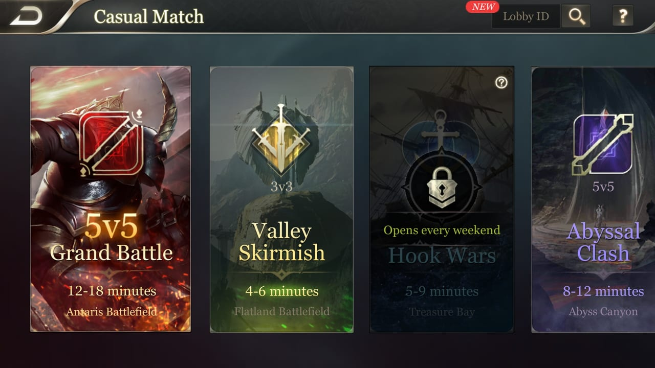 arena of valor game mode selector