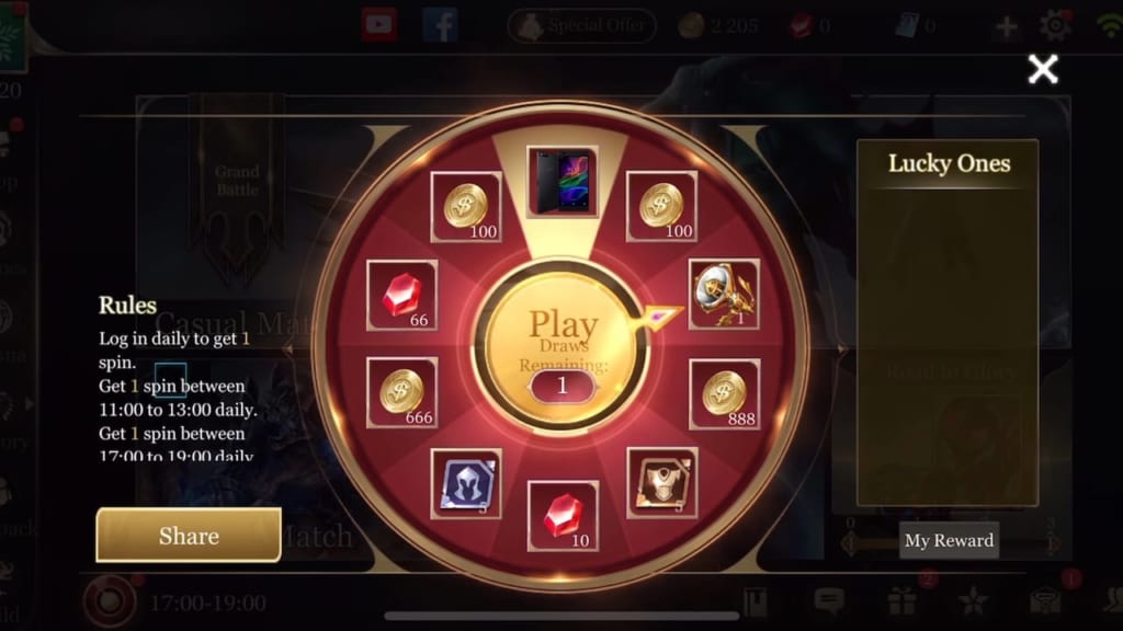 arena of valor roulette feature