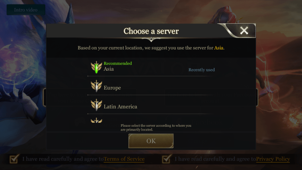 Arena of Valor Asia Server selection
