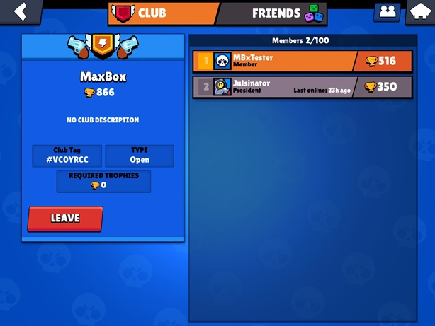 Brawl Stars Club Screen