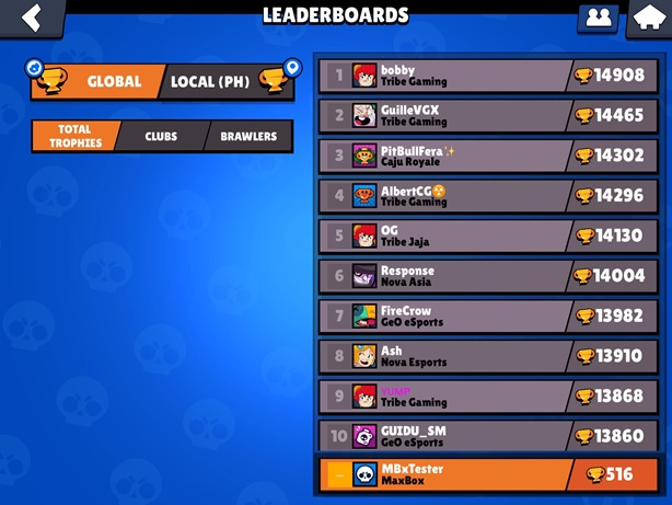 Brawl Stars Leaderboard Screen