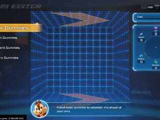 Kingdom Hearts 3 - Gummi Editor Main Menu