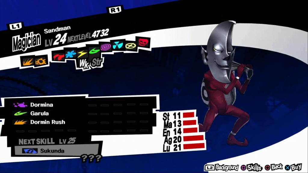 Persona 5 / Persona 5 Royal - Sandman Persona Stats and Skills