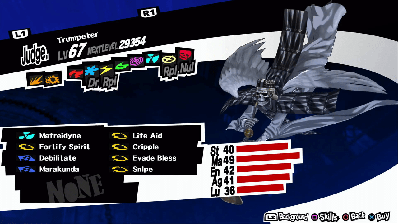 Persona 5 / Persona 5 Royal - Trumpeter Persona Stats and
