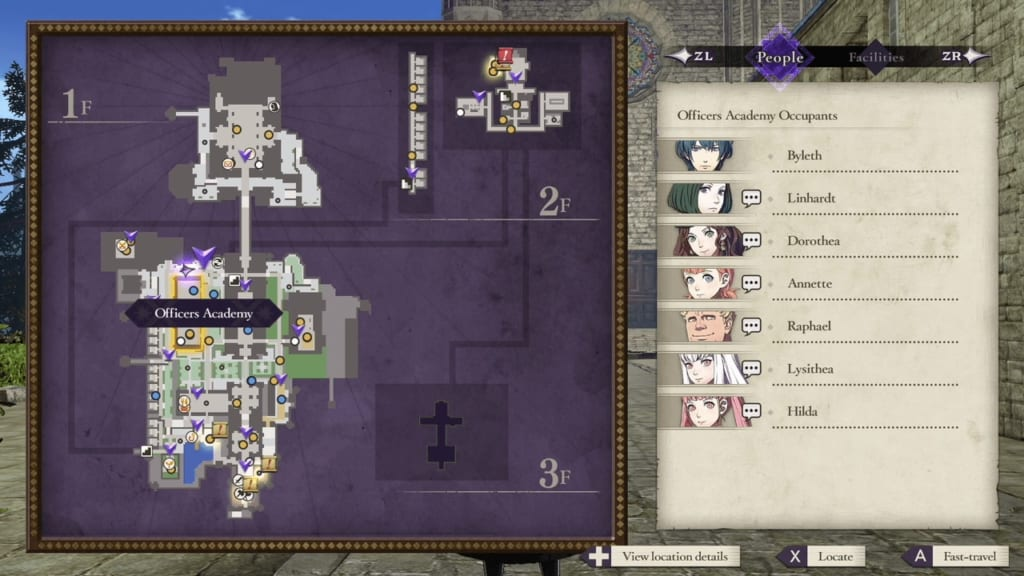 Fire Emblem: Three Houses - Garreg Mach Monastery Map and Facility List