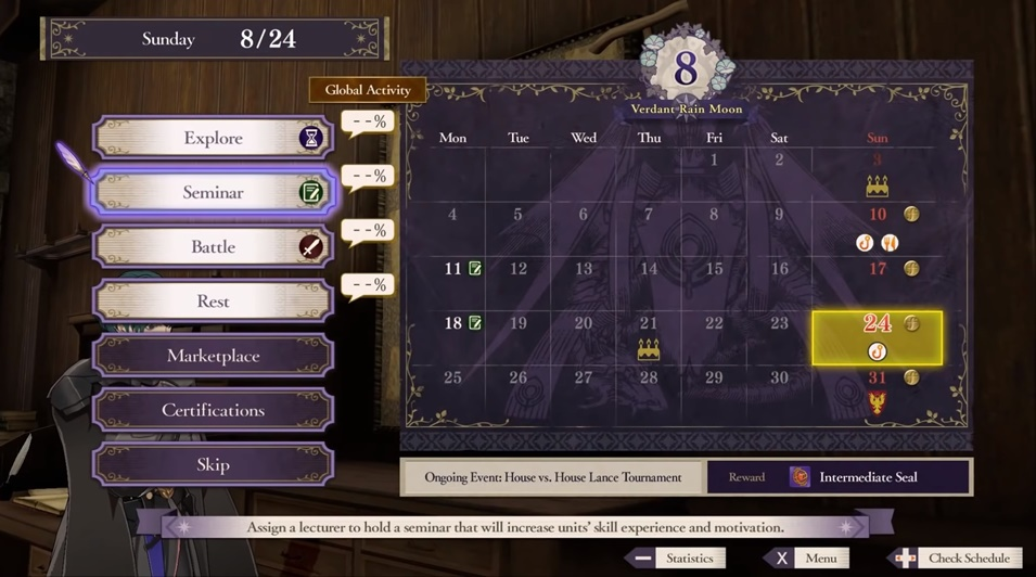 Fire Emblem: Three Houses - Calendar System