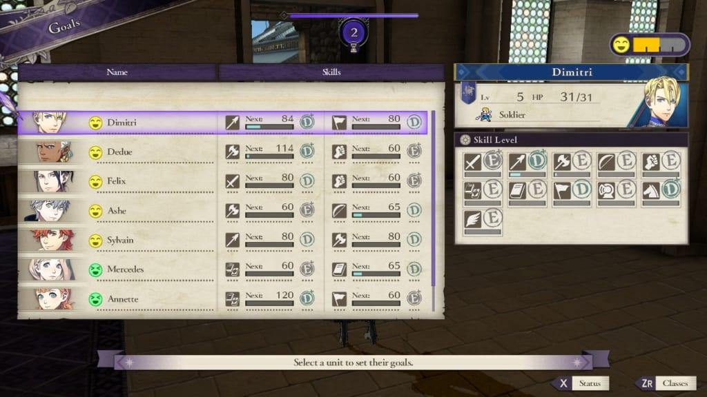 Fire Emblem: Three Houses - Goal Display (Menu Guide)