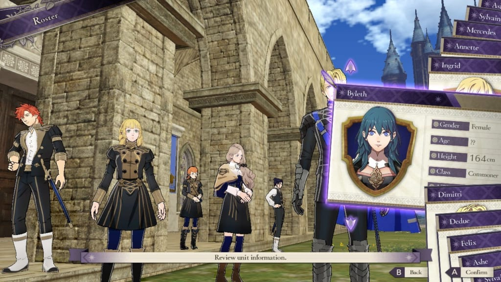Fire Emblem: Three Houses - Roster Display (Menu Guide)