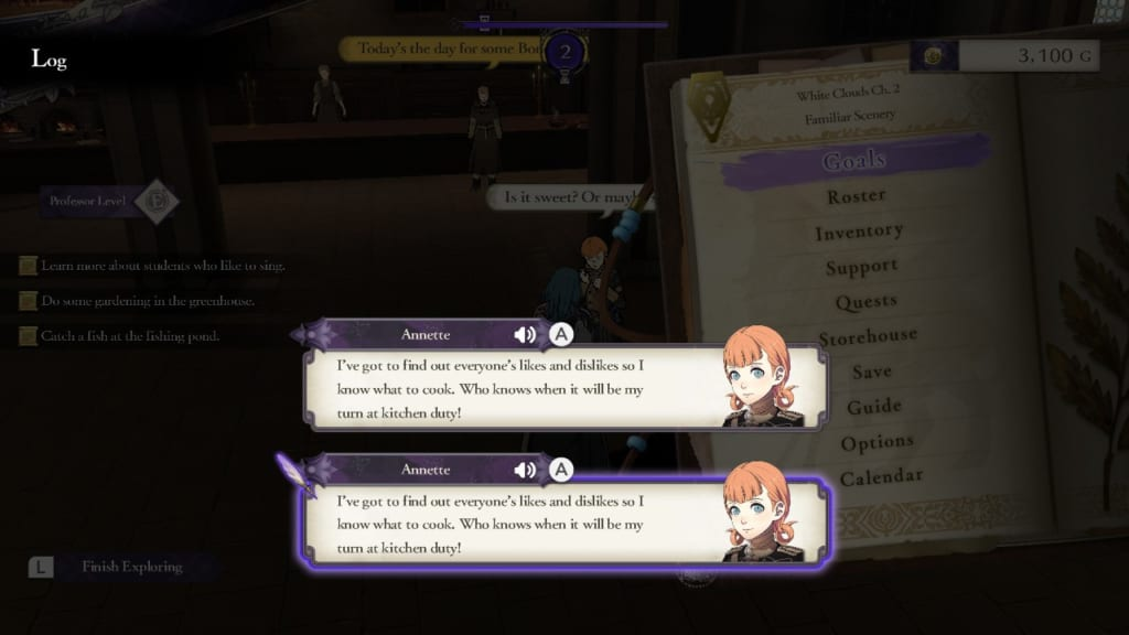 Fire Emblem: Three Houses - Log Display (Menu Guide)