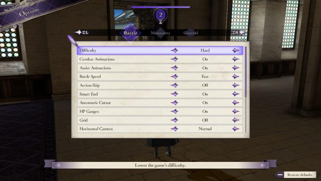 Fire Emblem: Three Houses - Option Display (Menu Guide)