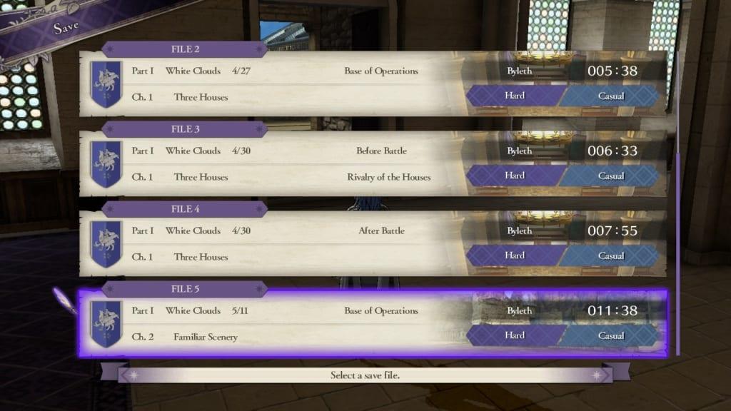 Fire Emblem: Three Houses - Save Display (Menu Guide)