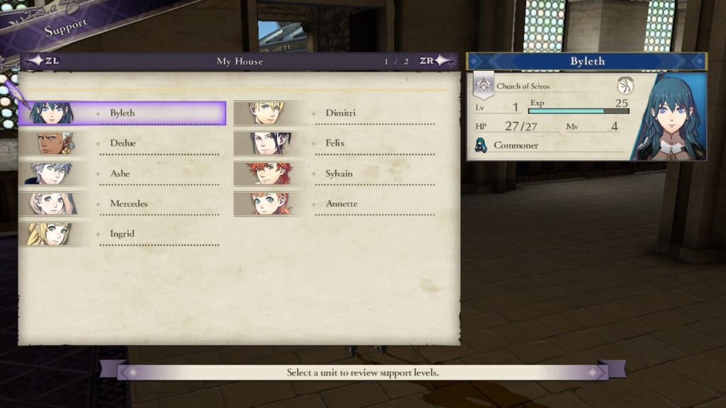 Fire Emblem: Three Houses - Support Display (Menu Guide)
