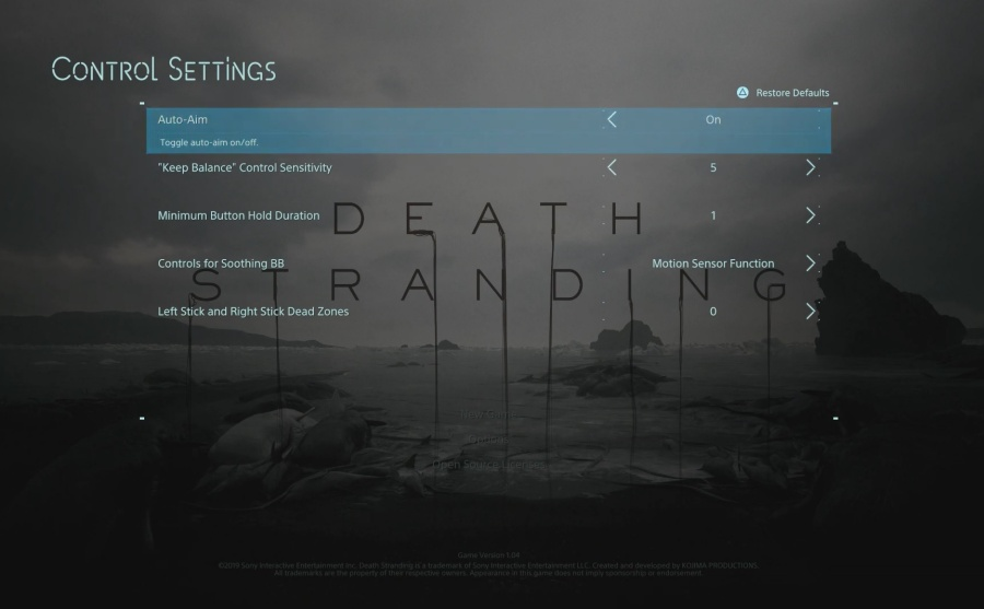 Death Stranding - Game Controls and Settings