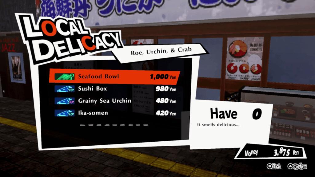 Persona 5 Strikers - Sapporo Suzushino Roe, Urchin, and Crab