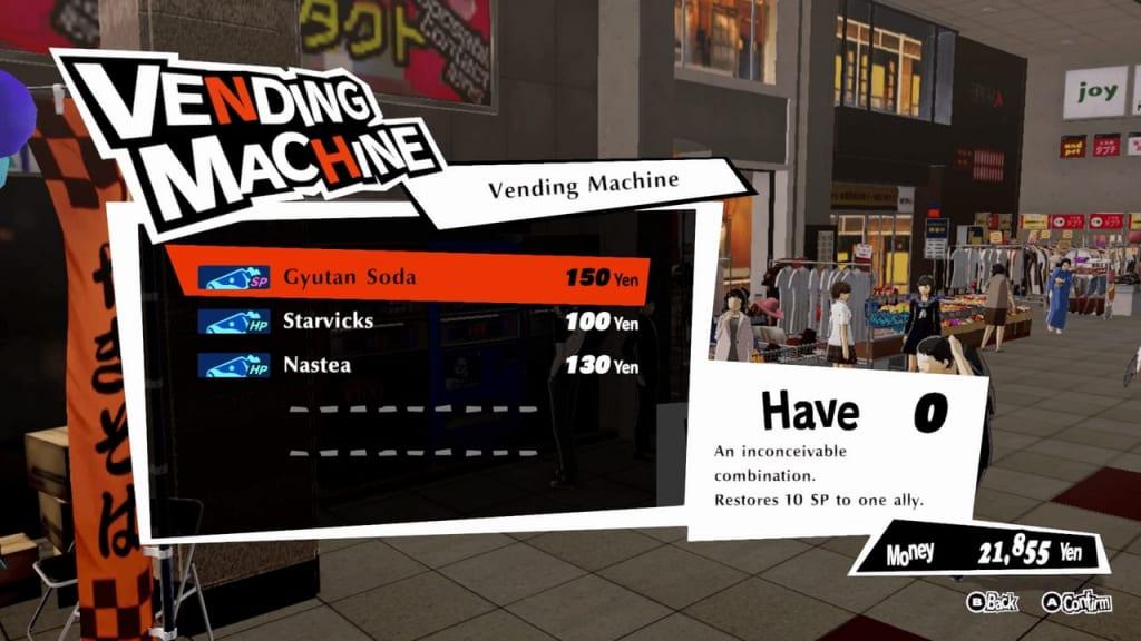 Persona 5 Strikers - Sendai Arcade City Blue Vending Machine