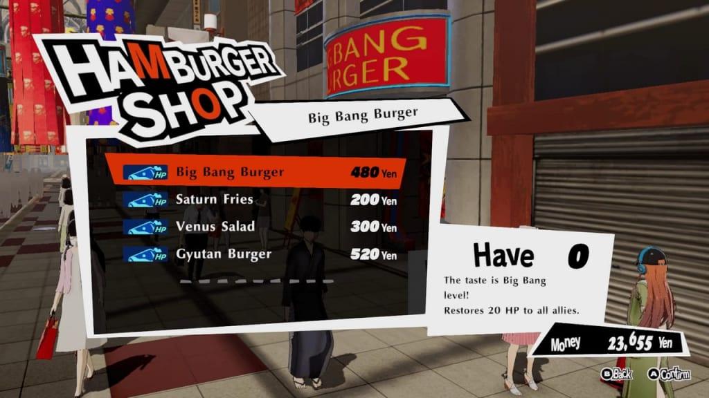 Persona 5 Strikers - Sendai Arcade City Big Bang Burger
