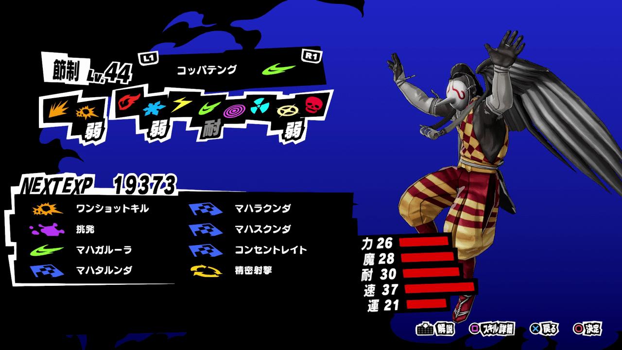 Persona 5 Strikers - Koppa Tengu Persona Stats and Skills