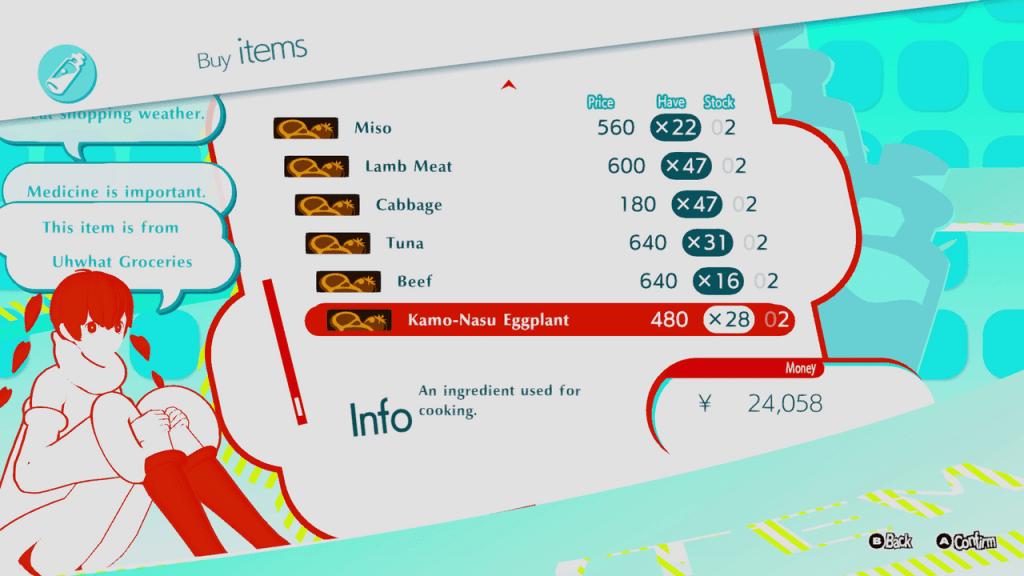 Persona 5 Strikers - Sophia's Shop All Cooking Ingredients Unlocked