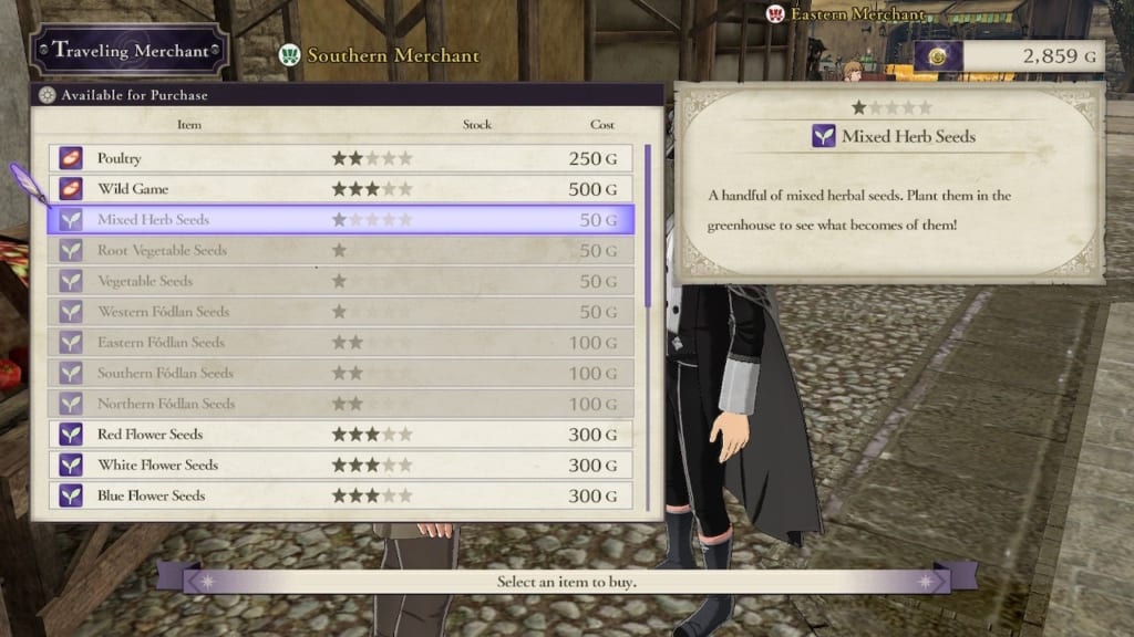 Fire Emblem: Three Houses - Southern Merchant Herb Seeds Purchase