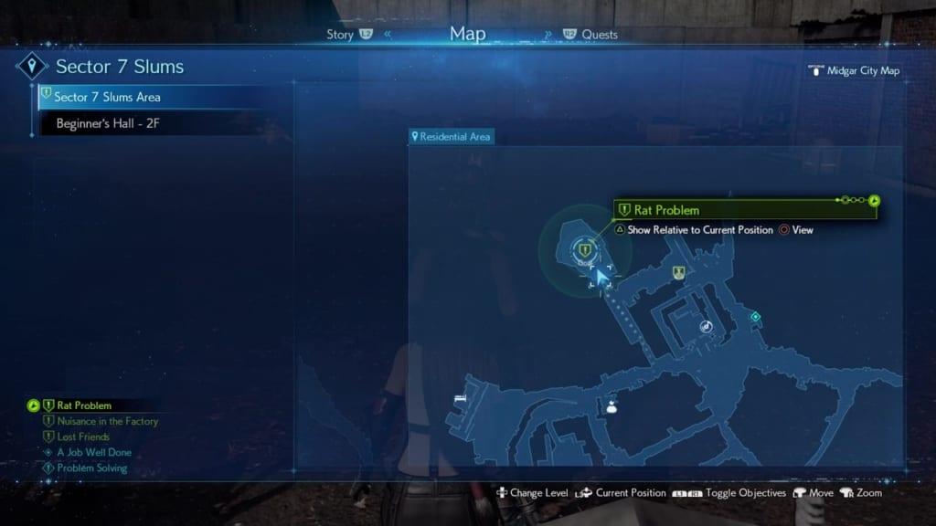 FF7 Remake - Rat Problem Side Quest - Map