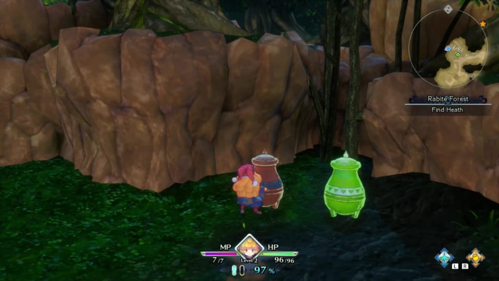 Trials of Mana Remake - Prologue Chapter: Charlotte - Rabite Forest - Vase Location 7