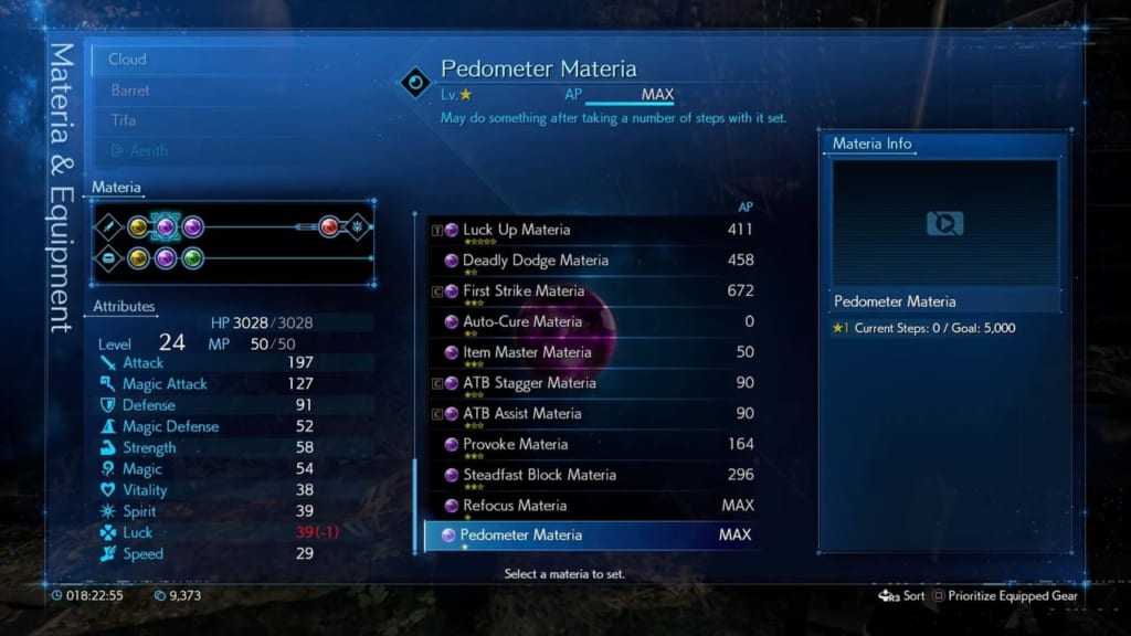 Final Fantasy 7 Remake / FF7 Remake - Pedometer Materia Information