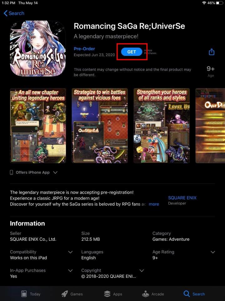 Romancing Saga Re Universe - iOS Pre Register