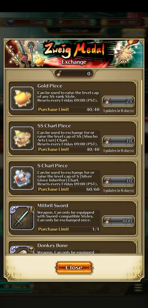 Romancing SaGa Re;Universe - Zweig Medal Rewards