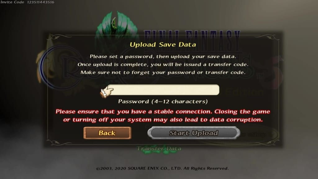 Final Fantasy Crystal Chronicles: Remastered Edition - Transfer Save Data - Input Password