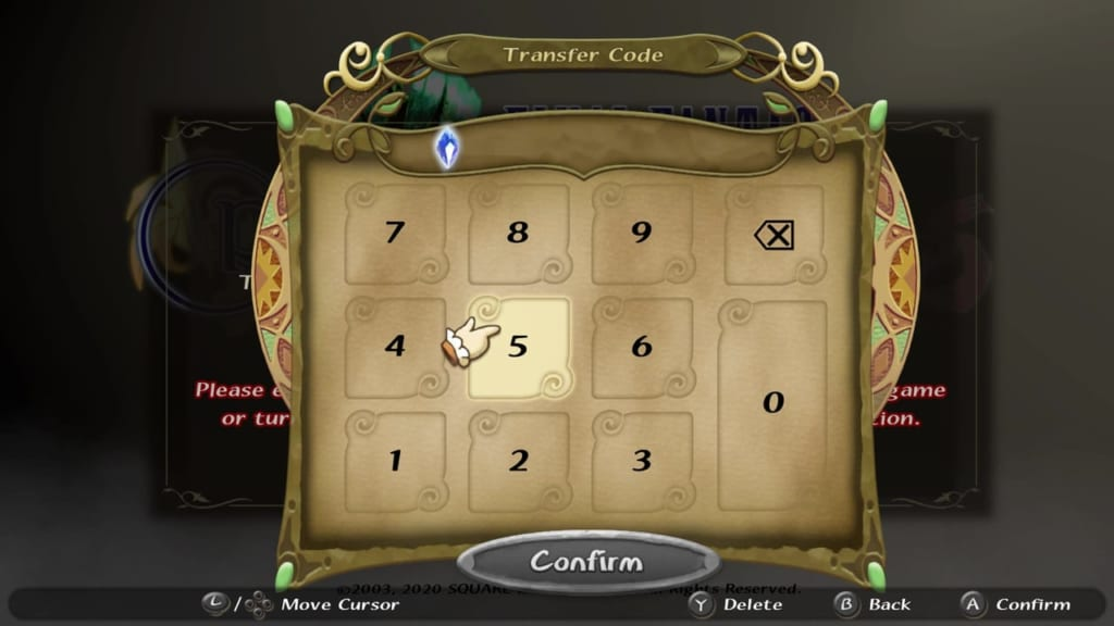 Final Fantasy Crystal Chronicles: Remastered Edition - Transfer Save Data - Input Code
