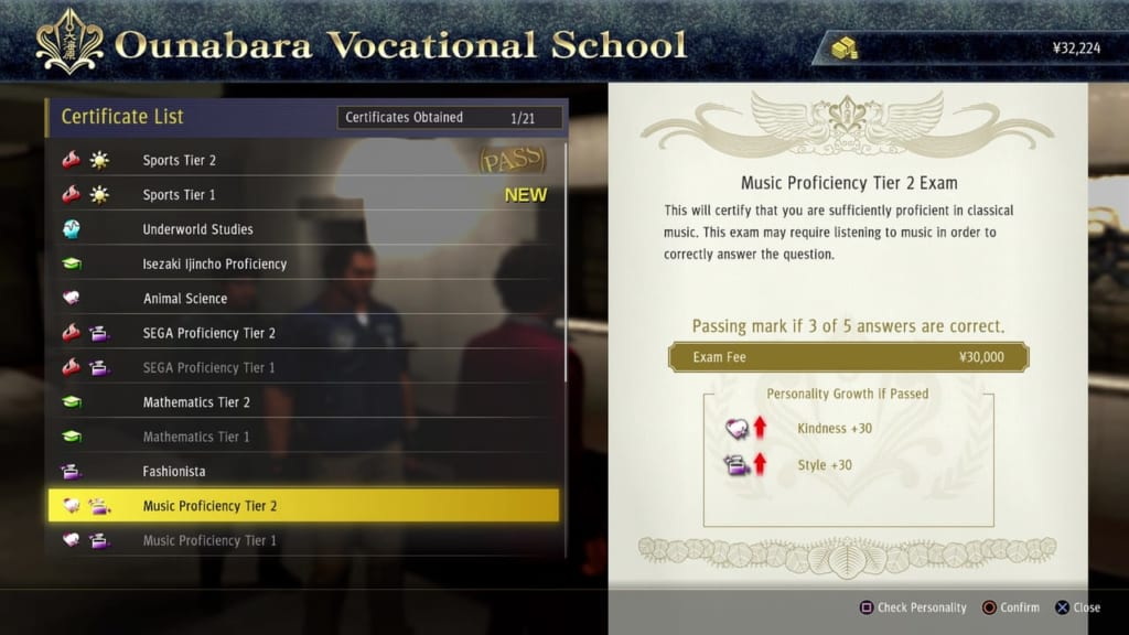 Yakuza: Like a Dragon - Ounabara Vocational School Music Tier 2 Exam Answers