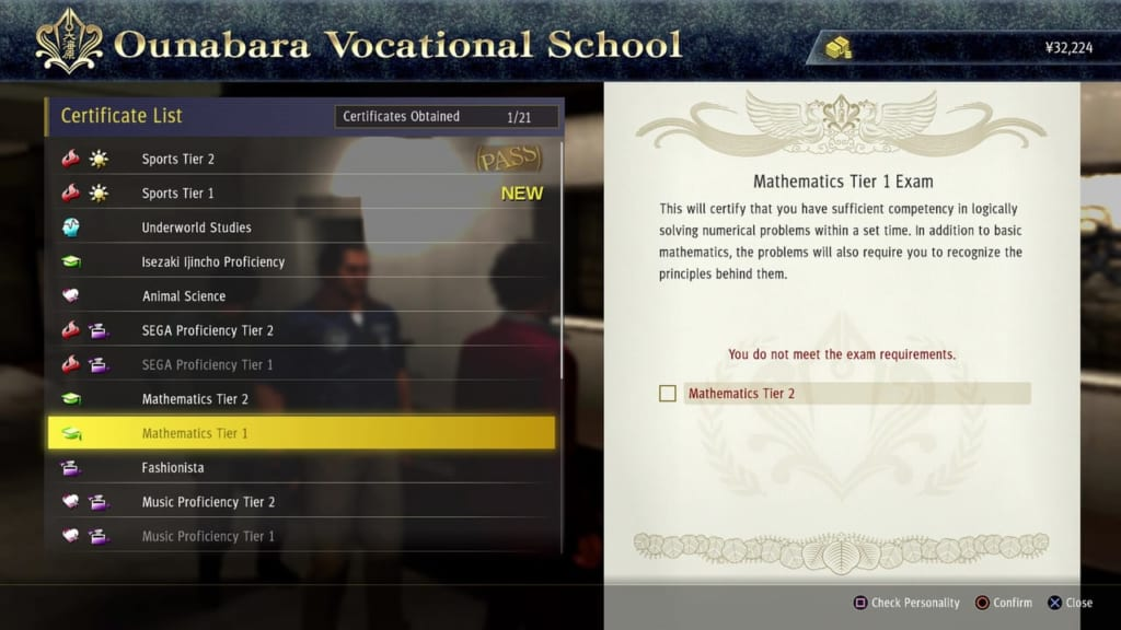 Yakuza: Like a Dragon - Ounabara Vocational School Mathematics Tier 1 Exam Answers