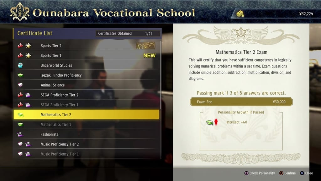 Yakuza: Like a Dragon - Ounabara Vocational School Mathematics Tier 2 Exam Answers