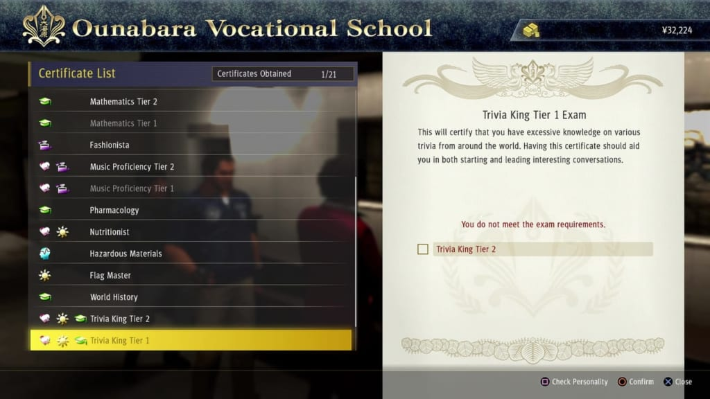 Yakuza: Like a Dragon - Ounabara Vocational School Trivia King Tier 1 Exam Answers