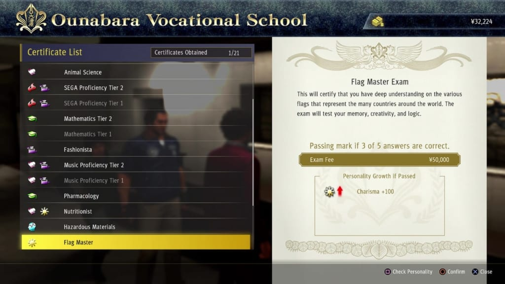 Yakuza: Like a Dragon - Ounabara Vocational School Flag Master Exam Answers